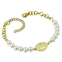 Zlacený dámský ocelový náramek s perličkami