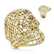 Zlacený ocelový prsten - lebka drátěná
