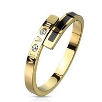 Zlacený ocelový prsten se zirkonem, vel. 52