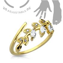 Zlacený prsten na nohu - větvička se zirkony