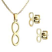 Zlacený set šperků z chirurgické oceli, nekonečno