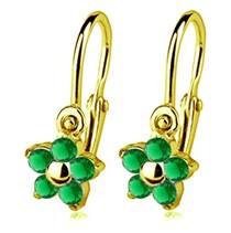 Zlaté dětské náušnice s kameny Crystals from SWAROVSKI®, barva: Emerald