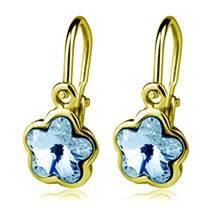 Zlaté dětské náušnice s kytičkami Crystals from SWAROVSKI®, barva: Aquamarine