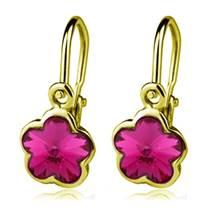 Zlaté dětské náušnice s kytičkami Crystals from SWAROVSKI®, barva: Fuchsia