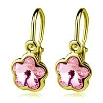 Zlaté dětské náušnice s kytičkami Crystals from SWAROVSKI®, barva: Light Rose