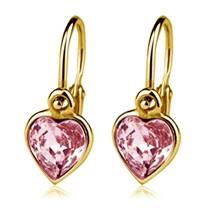 Zlaté dětské náušnice se srdíčky Crystals from SWAROVSKI®, barva: Light Rose