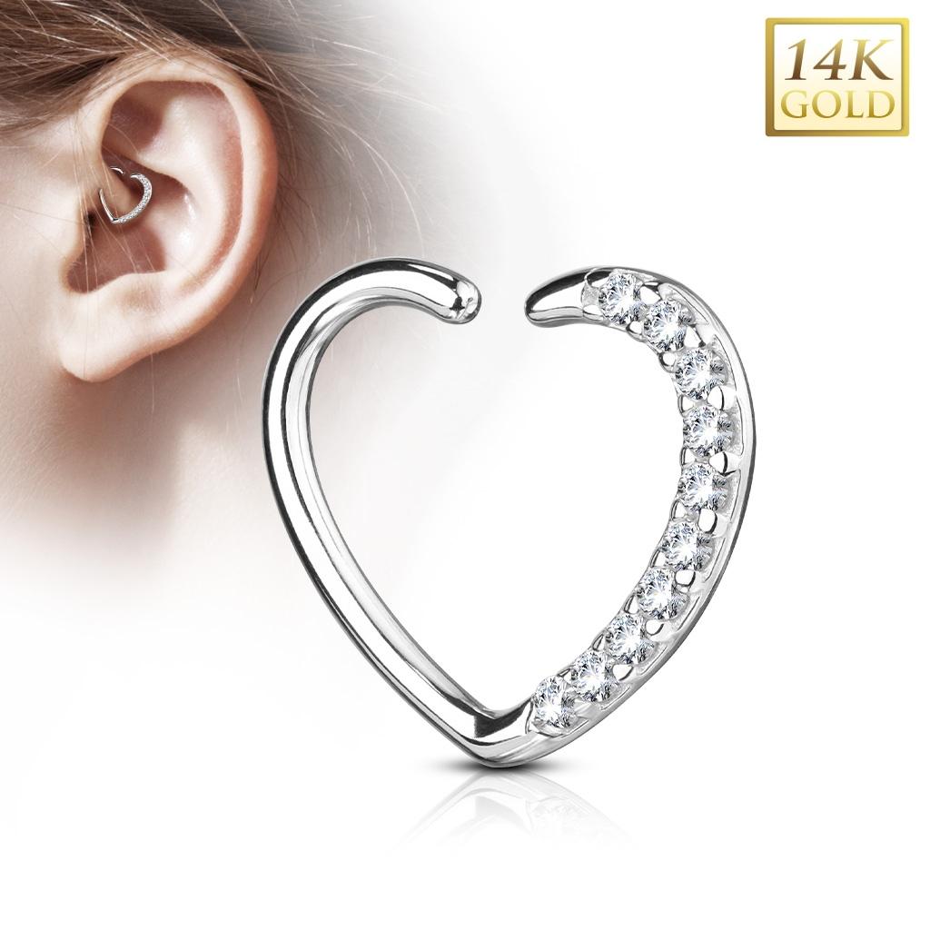 5c28d8163 Zlatý piercing kruh. Zlatý piercing kruh. Zlatý cartilage piercing do ucha  - srdíčko zdobené zirkony