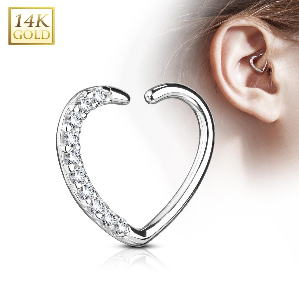 99d344931 Zlatý cartilage piercing do ucha - srdíčko, Au 585/1000 | Šperky4U.eu