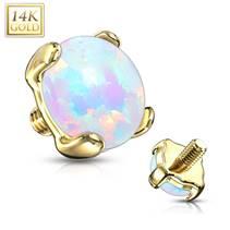 Zlatý piercing - dermál opál, Au 585/1000