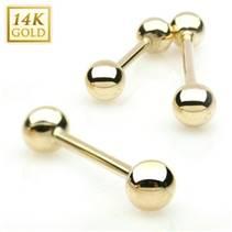 Zlatý piercing do jazyka, tyčka 1,6 mm - Au 585/1000