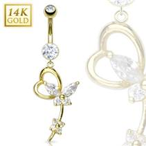 Zlatý piercing do pupíku - motýlek, Au 585/1000