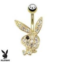 Zlatý piercing do pupíku Playboy, Au 585/1000